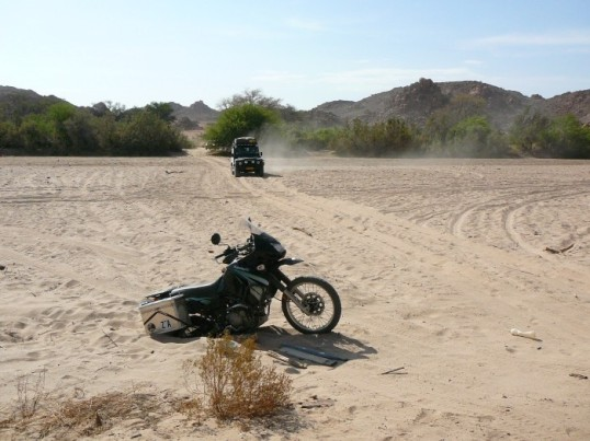 Namibia: Help arrives. (Poor KLR!)